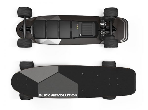 Slick Revolution Urban Kicktail With a unique old school deck design, the Urban Kick brings skateboarding back to the heart of electric skateboards. Pop off curbs, tic tac around corners and enjoy all of the benefits of a kicktail deck.