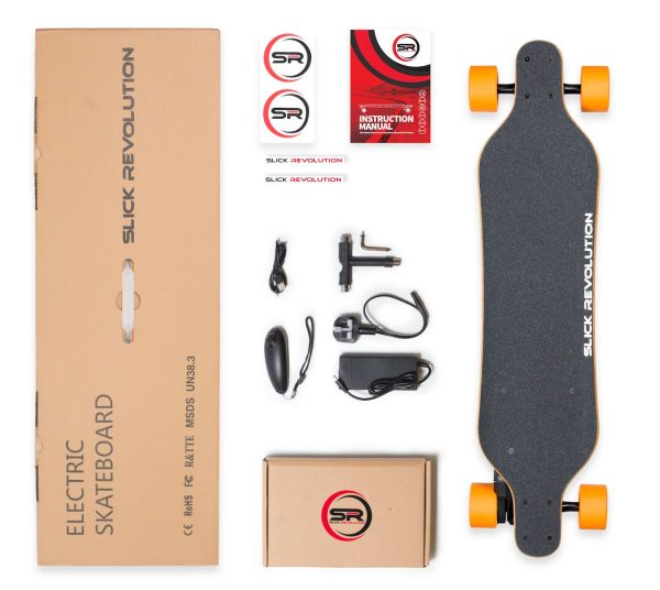 MAX-Eboard 2.0 Slick Revolutions slim line, upgraded Max-Eboard.  Flexible and slim battery case for a sleek look and awesome range. Best for flatter areas or riders under 100kg. Great for carving and silky smooth to ride. Awesome range for a lightweight and high performing electric skateboard.  Range:19KM Top Speed: 32KM/U Highlights: Unique battery layout, Range, Extra Flexible.