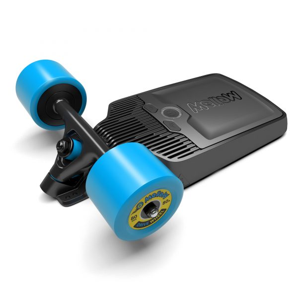 Mellow Drive S The Mellow Drive S is a the light version of the Mellow Drive.  With a stunning range of 10 kilometers and speed of 25 kilometers per hour this board is your best choice when looking for a modulair, affordable kit that you can put underneath every deck,