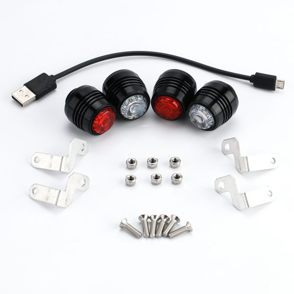 Skateboard LED lights (4x) Skateboard Safety is important! Light your path and make others see you.  Including:  2x front lights 2x rear lights 4x holder + screws 1x charging cable