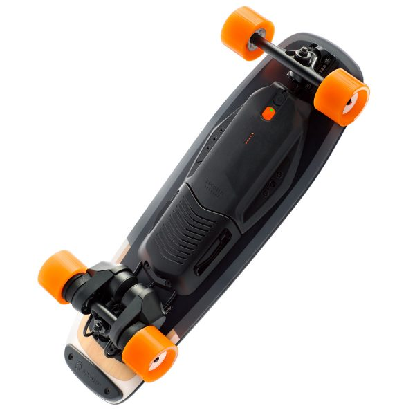 """Boosted Board Mini S Boosted Board Mini Sisthe stash-and-go Boosted experienceyou've been waiting for. At only 29.5 inches long, it fits perfectly under desks, in overhead storage on busses and trains, and is built for riders who are always on the move. Our new custom-designed composite deck provides a wide, stable standing platform and features aDeep Dish concaveshape forsuperior control. The kicktail design allows for quick pivoting in close quarters and lets you """"float"""" over road imperfections. Best of all, Boosted Mini delivers the same powerful acceleration and smooth, secure braking you expect from Boosted with ride modes and acceleration patterns designed to suit the board's compact profile.Boosted Mini S is where power meets agility."""
