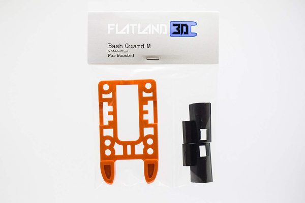 Bash Guard M for Boosted Boards Orange (open) Designed as a direct replacement for the stock riser on your Boosted Board, the Bash Guard M orange with round edge will provide protection to the nose or tail of your deck without any effect to the ride feel or dynamics.  Color: Orange Edge: Pronger (open)  Includes Cable Clips