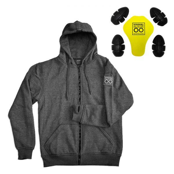 Armored Hoodie Gehen Sie mit dem Armored Hoodie von Lazyrolling auf Nummer sicher, wenn Sie mit Ihrem Elektro-Skateboard oder Elektro-Fahrrad fahren. Dieser hochwertige Kevlar-Hoodie schützt Ihren Körper mit Polstern an Ellbogen, Schultern und Rücken. Der Kevlar Hoodie besteht aus DuPont ™ Kevlar®-Innenfutter mit einer Fadendichte von 170-180 GSM, was zu den besten auf dem Markt zählt.  Auf der Vorderseite des Hoodies befinden sich eine wasserdichte Tasche für Ihre täglichen Sachen und Reißverschlüsse für Ihr Handy. Die Pads sind Level CE 1 zertifiziert, um Ihnen den bestmöglichen Schutz zu bieten.  Der ARMORED by LAZYROLLING verfügt über ein DuPont ™ Kevlar®-Innenfutter mit einer Fadendichte von 170-180 GSM.  Futter: 80% Baumwolle, 20% Polyester * * Innenschutzfutter: Kevlar®-Faser, 170-180 GSM.