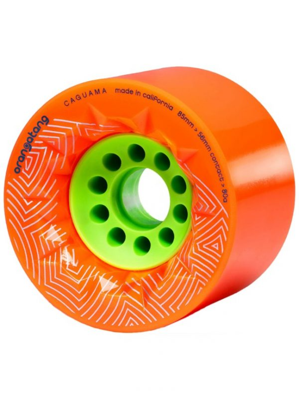 Orangatang caguama wheels orange - 85mm (set of 4 wheels) These Orangatang caguama wheels orange of 85mm are designed for speed, grip, and an ultra-smooth ride. Additionally, it's actually designed for the rigors of e-boarding (It's the same core as the Kegel so it'll fit many of the belt drive e-board systems out there).  With a large 85mm diameter, the Caguama rolls with incredible speed and plows over cracks, rocks, sticks, and the roughest roads. The 56mm contact patch with its surface skin provides confident grip, while the subtly rounded edges help the wheels pass smoothly across pavement cracks. The original Orangatang urethane formula is fast, smooth, plush, and grippy.  The fully exposed 46mm core reduces weight while providing quick acceleration and lots of momentum. Compatible with any electric skateboard that can accommodate Orangatang Kegels, allowing for an even faster and smoother ride.