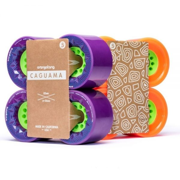 Orangatang caguama wheels purple - 85mm (set of 4 wheels) These Orangatang caguama wheels purple of 85mm are designed for speed, grip, and an ultra-smooth ride. Additionally, it's actually designed for the rigors of e-boarding (It's the same core as the Kegel so it'll fit many of the belt drive e-board systems out there).  With a large 85mm diameter, the Caguama rolls with incredible speed and plows over cracks, rocks, sticks, and the roughest roads. The 56mm contact patch with its surface skin provides confident grip, while the subtly rounded edges help the wheels pass smoothly across pavement cracks. The original Orangatang urethane formula is fast, smooth, plush, and grippy.  The fully exposed 46mm core reduces weight while providing quick acceleration and lots of momentum. Compatible with any electric skateboard that can accommodate Orangatang Kegels, allowing for an even faster and smoother ride.