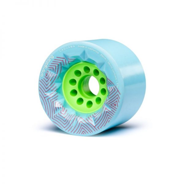 Orangatang caguama wheels blue - 85mm (set of 4 wheels) These Orangatang caguama wheels blue of 85mm are designed for speed, grip, and an ultra-smooth ride. Additionally, it's actually designed for the rigors of e-boarding (It's the same core as the Kegel so it'll fit many of the belt drive e-board systems out there).  With a large 85mm diameter, the Caguama rolls with incredible speed and plows over cracks, rocks, sticks, and the roughest roads. The 56mm contact patch with its surface skin provides confident grip, while the subtly rounded edges help the wheels pass smoothly across pavement cracks. The original Orangatang urethane formula is fast, smooth, plush, and grippy.  The fully exposed 46mm core reduces weight while providing quick acceleration and lots of momentum. Compatible with any electric skateboard that can accommodate Orangatang Kegels, allowing for an even faster and smoother ride.
