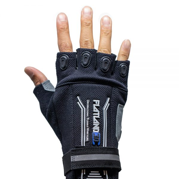 Flatland 3D Pro E-Skate Gloves With e-skate centered features in every stitch, the brand new 2020 edition of the flatland3d E-Skate Gloves are the ultimate choice for daily commuters and weekend warriors. FEATURES:  Knox Patented SPS (Scaphoid Protection System)  Fingerless for maximum sensitivity and control of your remote  Clarino breathable performance palm  4 way stretch mesh and Spandex across the top of the hand for great flexibility and breathability  Abrasion resistant finger guards  Terry cloth thumb panel to use as a wipe  Reflective piping across back of hand for added visibility  Rubber pull tabs make it easy to put the glove on or take it off  Hook and loop closure at the wrist for a secure fit