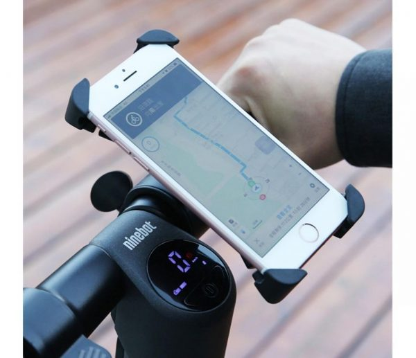 Phone Holder by Segway The easy to install phone holder from Segway.  We know how hard it is to use your phone while using your electric scooter because you need both hands. Those days are over. The claw shape tightly secures each corner of your phone to your electric scooter!