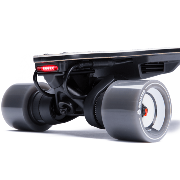 Boosted Beams Fully integrated lights powered by your board and built to last for years. Ride confidently with 600 lumens and powerful brake lights beneath your feet. Including a usb port to charge your remote or phone!