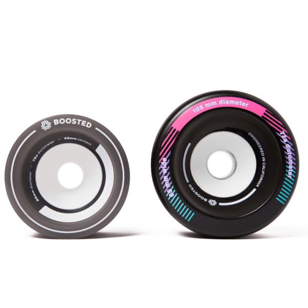 Boosted 105s Boosted 105s are engineered to handle any tough road conditions. Best of all? With Boosted 105s you can go 2 mph faster. Smoother, faster, and bigger than ever. See compatibility and spec's below.