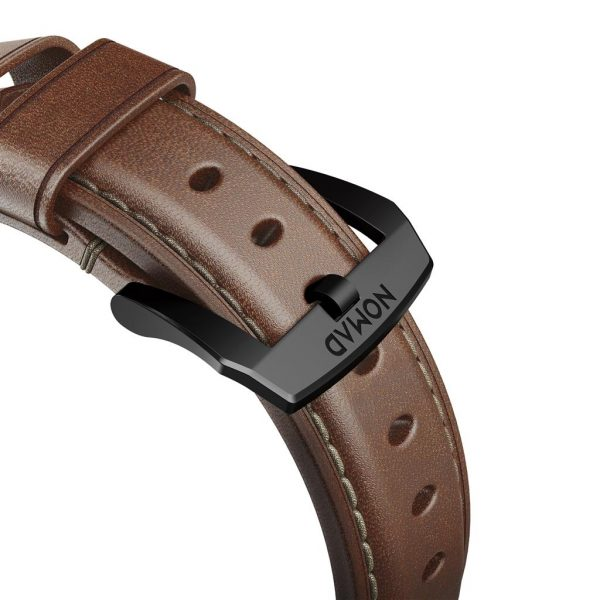 Leather Nomad Apple Watch strap – Traditional - Brown - Black Designed to give your Apple Watch a classic, yet bold new look. Made from minimally treated, vegetable tanned leather from one of America's oldest tanneries.The leather is designed to beautifully patina with time, creating a handsome, rich leather strap with a look that is uniquely yours.  Horween leather from the USA  Fil Au Chinois beeswax linen thread  Custom stainless steel lugs and buckle  Designed for Apple Watch Series 5  Works with all previous versions of Apple Watch, including Apple Watch Series 3