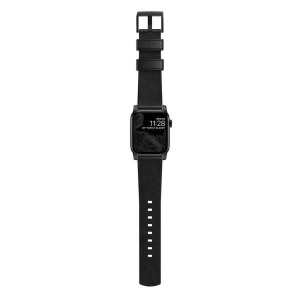Nomad Apple Watch strap - Modern - Black - Black Designed to give your Apple Watch a classic, yet bold new look. Made from minimally treated, vegetable tanned leather from one of America's oldest tanneries. The leather is designed to beautifully patina with time, creating a handsome, rich leather strap with a look that is uniquely yours.