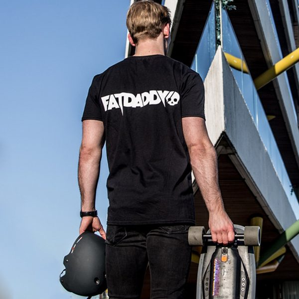 Fatdaddy t-shirt Fatdaddy represent! Express the lifestyle with our limited release of the Fatdaddy t-shirt. Only 100 available worldwide for all our day one's out there.  High quality black cotton featuring the brandlogo on front and back. Including our signature skull in the neck as a finishing touch.  Available in medium, large and extra large.
