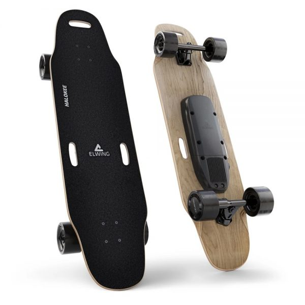 Elwing Powerkit The Elwing Powerkit is a modular kit to create the electric skateboard that perfectly fit's your driving style. Choose your own deck, motors and batteries to create a custom machine. You can always change it later if you're looking for more autonomy, speed or lightness.  We offer the fully upgraded and maxed out version of Elwing PowerKit. The 216 Wh battery that will give you up to 30 kilometers of range.The new Dual-motors (38km/h) are slightly larger, more powerful and smoother then before. The deck is the Halokee longboard model, perfect for cruising around!  Topspeed: 38 km/h Range: 30km Highlights: Modulair, IP65 dust resistant, Swappable batteries.