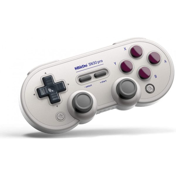8Bitdo SN30 Pro Small enough to take with you, but also great for longer sessions on the couch.  The SN30 Pro is a fully featured wireless bluetooth controller with excellent joysticks. With design inspiration from the classics. 8Bitdo paid extra attention to the most critical characteristics like the d-pad, to make sure it feels perfect. It has Rumble and is compatible with most gaming systems.  Compatibility:Windows, Android, iPhone, macOS, Nintendo Switch, Raspberry Pi Available in: SN and G Classic.
