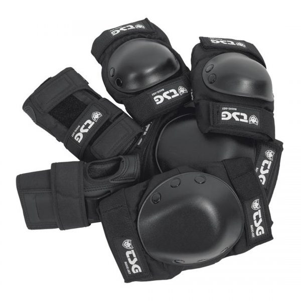 TSG Body Protection Set Worried you might screw up your knee or elbow? This all-in-one skate protection set includes a set of knee pads, elbow pads and wrist guards is just what you need. The elbow and knee pads feature EVA cup foam and PE caps to provide protection against impacts and abrasions. The wrist guards stabilise hands and wrists with full straps and palm splint. Can be worn under or on top of your clothes.  Protection: Hardshell construction, EVA foam, PE elbow and knee caps, PE wrist splint, EN 14120 CE certified  Comfort: Pre-Shaped Design, Strong Cordura fabric, Horseshoe Shape, Elbow and knee pad with top velcro 360° straps, Wristguard with 3 velcro straps and artificial leather palm pad, Pull-over design